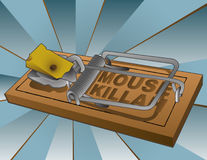 Mouse Killah - trap and cheese. Rendered illustration of a loaded mousetrap with a wedge of swiss cheese. MOUSE KILLAH fake brand name Royalty Free Stock Photography
