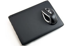 The mouse on the laptop stock images