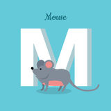 Mouse with Letter M Isolated. ABC, Alphabet. Mouse with letter M isolated on blue. Rodent with pointed snout, small rounded ears, a body-length scaly tail and a Stock Images