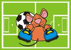Mouse lies on the football field with the ball and boots Stock Image