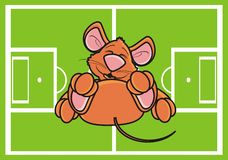 Mouse lies on the football field. Brown mouse lies on the football field Stock Photo