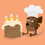 Mouse looking at birthday cake Royalty Free Stock Photos