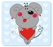 Mouse in love. Mouse with Heart Shape. Vector illustration to Valentine's Day Stock Photos