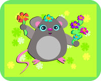 Mouse Loves Flowers Stock Image