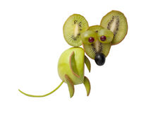 Mouse made of kiwi and apple stock images