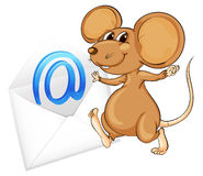 Mouse with mail envelop. Illustration of a mouse with mail envelop on a white vector illustration