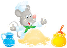 Mouse making dough. Isolated clip-art / animal character for your design Royalty Free Stock Images