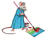 Mouse Making A Painting: Color Pencil Drawing. Color pencil drawing of a lady mouse holding a large paint brush and making a painting Royalty Free Stock Photography