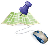 Mouse and map concept Stock Photos