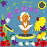Mouse Merlin and flowers. Illustration with a pretty mouse, in the image of a super star Royalty Free Stock Image