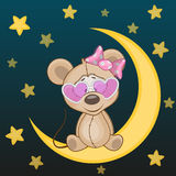 Mouse on the moon. Mouse girl is sitting on the moon Royalty Free Stock Photography