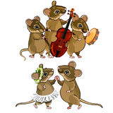 Mouse musical orchestra and a dancing couple. Mouse characters. Musical orchestra and a dancing couple. Holiday concept. Vector illustration in cartoon style Royalty Free Stock Images