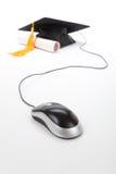 Mouse nero del calcolatore e del Mortarboard fotografia stock
