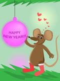 Mouse and new year's ball. Vector illustration Stock Photography