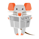 Mouse with newspaper Royalty Free Stock Photo