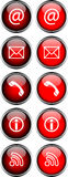Mouse-over Buttons. Editable Red Shiny Mouse-over Buttons Royalty Free Stock Photo