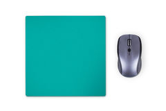 Mouse with Pad. Wireless computer mouse with green pad, isolated on white background Stock Photos