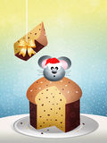 Mouse on panettone Stock Images