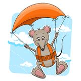 Mouse with parachute Stock Image
