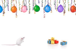 Mouse party. Mouse having a party on a white background Royalty Free Stock Photos