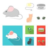 Mouse, pet leash, pet food, kitten. Cat set collection icons in cartoon,flat style vector symbol stock illustration web. Mouse, pet leash, pet food, kitten. Cat Royalty Free Stock Photography