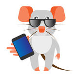 Mouse with phone Royalty Free Stock Image