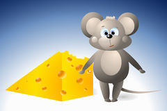 Mouse with a piece of cheese Royalty Free Stock Images