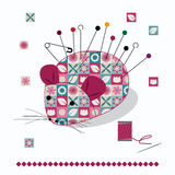 Mouse Pin cushion with pins Stock Images