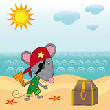 Mouse pirate. Mouse on the beach near the pirate treasure chest Stock Photo