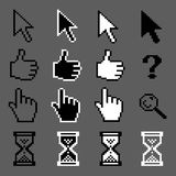 Mouse pixel cursors. White and black mouse pixel cursors  collection Stock Photos