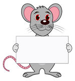 A mouse with a placard Royalty Free Stock Photo