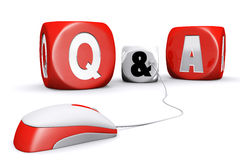 Mouse plug in questions and answers dices Royalty Free Stock Photo