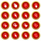 Mouse pointer icon red circle set Royalty Free Stock Images