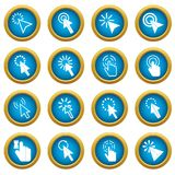 Mouse pointer icons blue circle set Royalty Free Stock Image