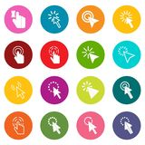 Mouse pointer icons many colors set Royalty Free Stock Image