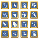 Mouse pointer icons set blue Royalty Free Stock Photo