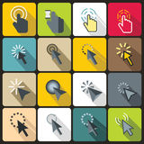 Mouse pointer icons set, flat style Stock Photo