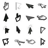 Mouse pointer icons set, isometric 3d style Stock Images