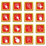 Mouse pointer icons set red Stock Image