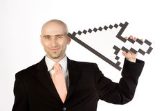 Mouse Pointer with Man Stock Image
