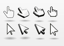 Mouse pointer set computer cursor icon finger. Arrow  pixel 3d symbol isolated Royalty Free Stock Photos