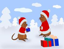 Mouse with Presents vector illustration