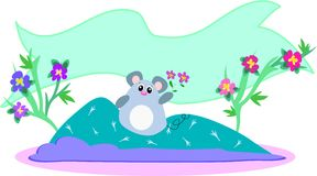 Mouse on Quilt with Banner Stock Photos