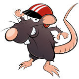 Mouse in racing helmet. Cartoon illustration of smiling rat or mouse in racing helmet, isolated on white background Stock Photo
