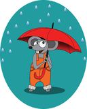 Mouse in rain autumn with umbrella -  illustration, eps Royalty Free Stock Image