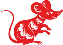 Mouse, rat , Chinese lunar horoscope. Mouse, rat.  Symbol of Chinese year zodiac. Paper cut style Royalty Free Stock Image