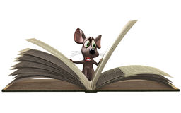 Mouse reading book Stock Images
