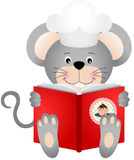 Mouse reading a cookbook. Scalable vectorial image representing a mouse reading a cookbook,  on white Stock Photography