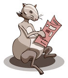 Mouse Reading Newspaper, Vector Illustration Royalty Free Stock Image