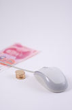 Mouse and rmb coins Royalty Free Stock Photo